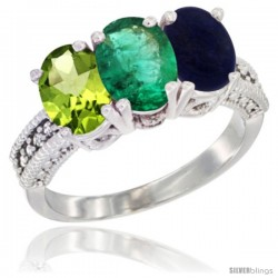 14K White Gold Natural Peridot, Emerald & Lapis Ring 3-Stone Oval 7x5 mm Diamond Accent