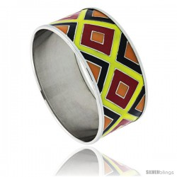 Stainless Steel Slip-On Bangle Bracelet Red, Yellow, Black & Orange Enameled Argyle Pattern, 1 3/16 in wide