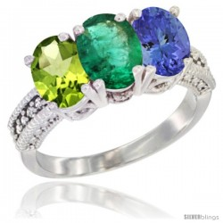 14K White Gold Natural Peridot, Emerald & Tanzanite Ring 3-Stone Oval 7x5 mm Diamond Accent