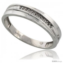 10k White Gold Mens Diamond Wedding Band Ring 0.04 cttw Brilliant Cut, 3/16 in wide -Style 10w020mb