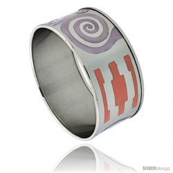 Stainless Steel Slip-On Bangle Bracelet Purple & Orange Enameled Swirl Pattern, 1 3/16 in wide