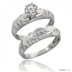 10k White Gold Diamond Engagement Rings Set 2-Piece 0.06 cttw Brilliant Cut, 3/16 in wide