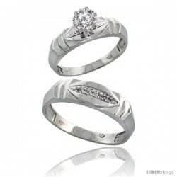 10k White Gold Diamond Engagement Rings 2-Piece Set for Men and Women 0.07 cttw Brilliant Cut, 5mm & 6mm wide