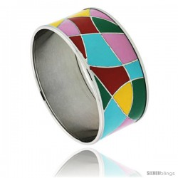 Stainless Steel Slip-On Bangle Bracelet Red, Yellow, Blue, Green & Pink enameled Abstract Pattern, 1 3/16 in wide