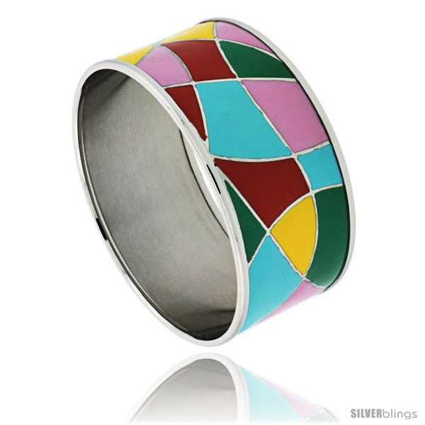 https://www.silverblings.com/1730-thickbox_default/stainless-steel-slip-on-bangle-bracelet-red-yellow-blue-green-pink-enameled-abstract-pattern-1-3-16-in-wide.jpg