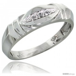 10k White Gold Ladies Diamond Wedding Band Ring 0.02 cttw Brilliant Cut, 3/16 in wide -Style 10w021lb