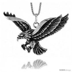 Sterling Silver Eagle Pendant, 1 1/2 in X 3/4 in (mmX20 mm)