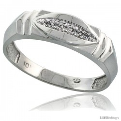 10k White Gold Mens Diamond Wedding Band Ring 0.03 cttw Brilliant Cut, 1/4 in wide -Style 10w021mb