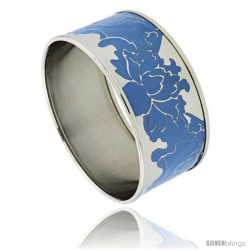 Stainless Steel Slip-On Bangle Bracelet w/ Blue Color Enameled Floral Vine Pattern, 1 3/16 in wide