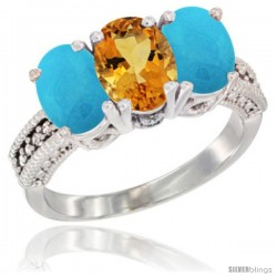 10K White Gold Natural Citrine & Turquoise Ring 3-Stone Oval 7x5 mm Diamond Accent