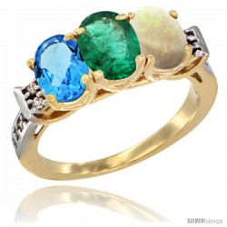 10K Yellow Gold Natural Swiss Blue Topaz, Emerald & Opal Ring 3-Stone Oval 7x5 mm Diamond Accent