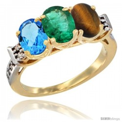 10K Yellow Gold Natural Swiss Blue Topaz, Emerald & Tiger Eye Ring 3-Stone Oval 7x5 mm Diamond Accent