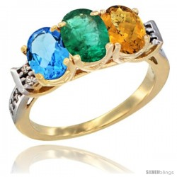10K Yellow Gold Natural Swiss Blue Topaz, Emerald & Whisky Quartz Ring 3-Stone Oval 7x5 mm Diamond Accent