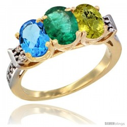 10K Yellow Gold Natural Swiss Blue Topaz, Emerald & Lemon Quartz Ring 3-Stone Oval 7x5 mm Diamond Accent