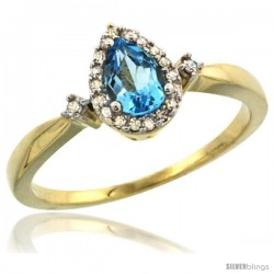 10k Yellow Gold Diamond Swiss Blue Topaz Ring 0.33 ct Tear Drop 6x4 Stone 3/8 in wide