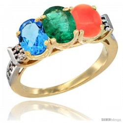 10K Yellow Gold Natural Swiss Blue Topaz, Emerald & Coral Ring 3-Stone Oval 7x5 mm Diamond Accent