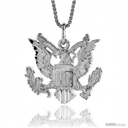 Sterling Silver American Eagle Pendant, 3/4 in X 1 in (mmX24 mm)