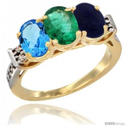 10K Yellow Gold Natural Swiss Blue Topaz, Emerald & Lapis Ring 3-Stone Oval 7x5 mm Diamond Accent