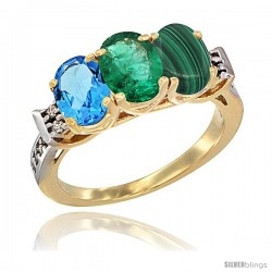 10K Yellow Gold Natural Swiss Blue Topaz, Emerald & Malachite Ring 3-Stone Oval 7x5 mm Diamond Accent