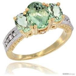14k Yellow Gold Ladies Oval Natural Green Amethyst 3-Stone Ring Diamond Accent