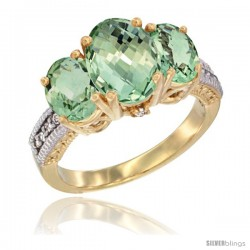 14K Yellow Gold Ladies 3-Stone Oval Natural Green Amethyst Ring Diamond Accent
