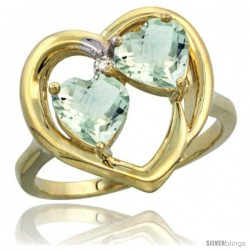 14k Yellow Gold 2-Stone Heart Ring 6mm Natural Green Amethyst Stones Diamond Accent, Diamond Accent