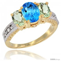 14k Yellow Gold Ladies Oval Natural Swiss Blue Topaz 3-Stone Ring with Green Amethyst Sides Diamond Accent