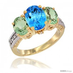 14K Yellow Gold Ladies 3-Stone Oval Natural Swiss Blue Topaz Ring with Green Amethyst Sides Diamond Accent