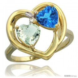 14k Yellow Gold 2-Stone Heart Ring 6mm Natural Green Amethyst & Swiss Blue Topaz Diamond Accent, Diamond Accent