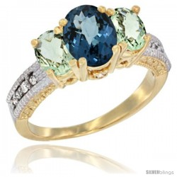 14k Yellow Gold Ladies Oval Natural London Blue Topaz 3-Stone Ring with Green Amethyst Sides Diamond Accent