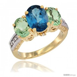 14K Yellow Gold Ladies 3-Stone Oval Natural London Blue Topaz Ring with Green Amethyst Sides Diamond Accent