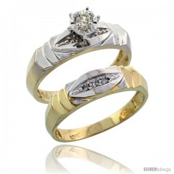 10k Yellow Gold Ladies' 2-Piece Diamond Engagement Wedding Ring Set, 3/16 in wide -Style 10y121e2