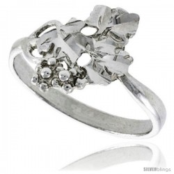 Sterling Silver Grape Vine Ring Polished finish 5/8 in wide