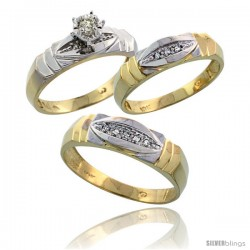 10k Yellow Gold Diamond Trio Wedding Ring Set His 6mm & Hers 5mm -Style 10y121w3