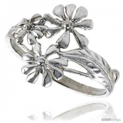 Sterling Silver Daisy Flower Ring 5/8 in wide