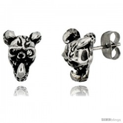 Stainless Steel Horned Skull Stud Earrings, 1/2 in (12.5 mm)