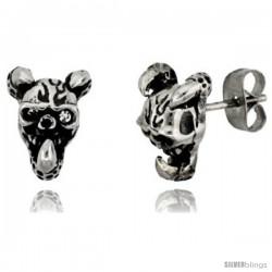 Stainless Steel Horned Skull Stud Earrings, 1/2 in (12.5 mm)