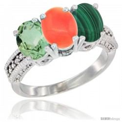 14K White Gold Natural Green Amethyst, Coral & Malachite Ring 3-Stone 7x5 mm Oval Diamond Accent