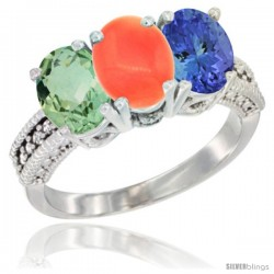 14K White Gold Natural Green Amethyst, Coral & Tanzanite Ring 3-Stone 7x5 mm Oval Diamond Accent