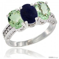 14K White Gold Natural Lapis & Green Amethyst Sides Ring 3-Stone 7x5 mm Oval Diamond Accent