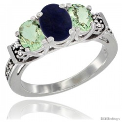 14K White Gold Natural Lapis & Green Amethyst Ring 3-Stone Oval with Diamond Accent