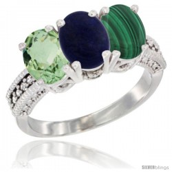 14K White Gold Natural Green Amethyst, Lapis & Malachite Ring 3-Stone 7x5 mm Oval Diamond Accent