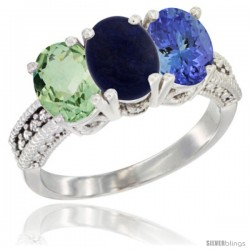 14K White Gold Natural Green Amethyst, Lapis & Tanzanite Ring 3-Stone 7x5 mm Oval Diamond Accent