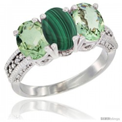 14K White Gold Natural Malachite & Green Amethyst Sides Ring 3-Stone 7x5 mm Oval Diamond Accent