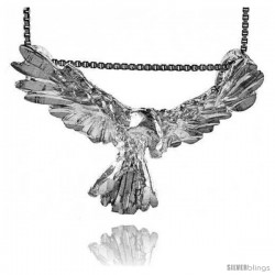 Sterling Silver Eagle Pendant, 1 1/2 in wide