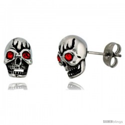 Stainless Steel Skull Stud Earrings w/ Red Stone Eyes, 1/2 in tall