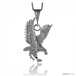 Sterling Silver Eagle Pendant, 1 1/4 in