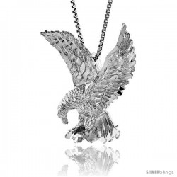 Sterling Silver Eagle Pendant, 1 1/16 in tall