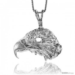 Sterling Silver Large Eagle Head Pendant, 1 in