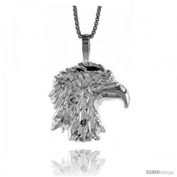 Sterling Silver Eagle Head Pendant, 3/4 in